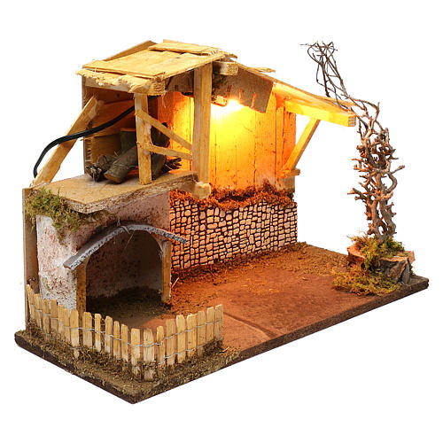 Nordic style hut with fence and lighting for Nativity scenes of 13 cm 30x40x20 cm 2