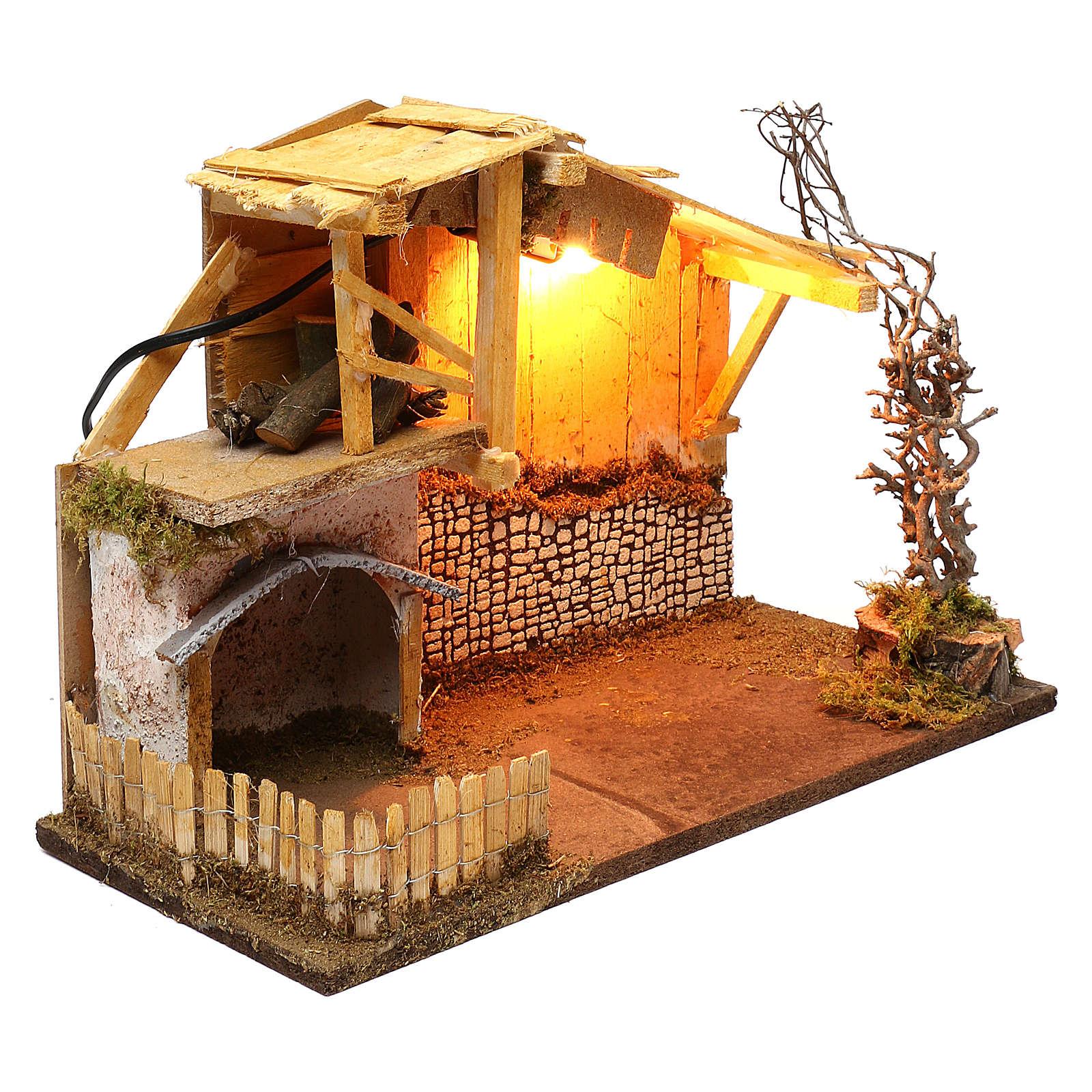 Cabane style nordique avec enclos éclairage crèche de 13 cm 30x40x20 cm 4
