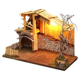 Cabane style nordique avec enclos éclairage crèche de 13 cm 30x40x20 cm s3