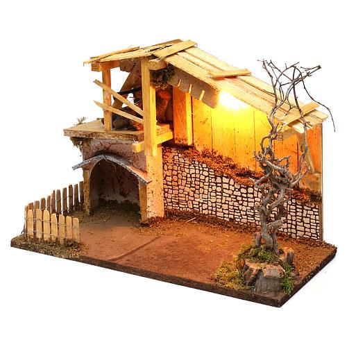Cabane style nordique avec enclos éclairage crèche de 13 cm 30x40x20 cm 3