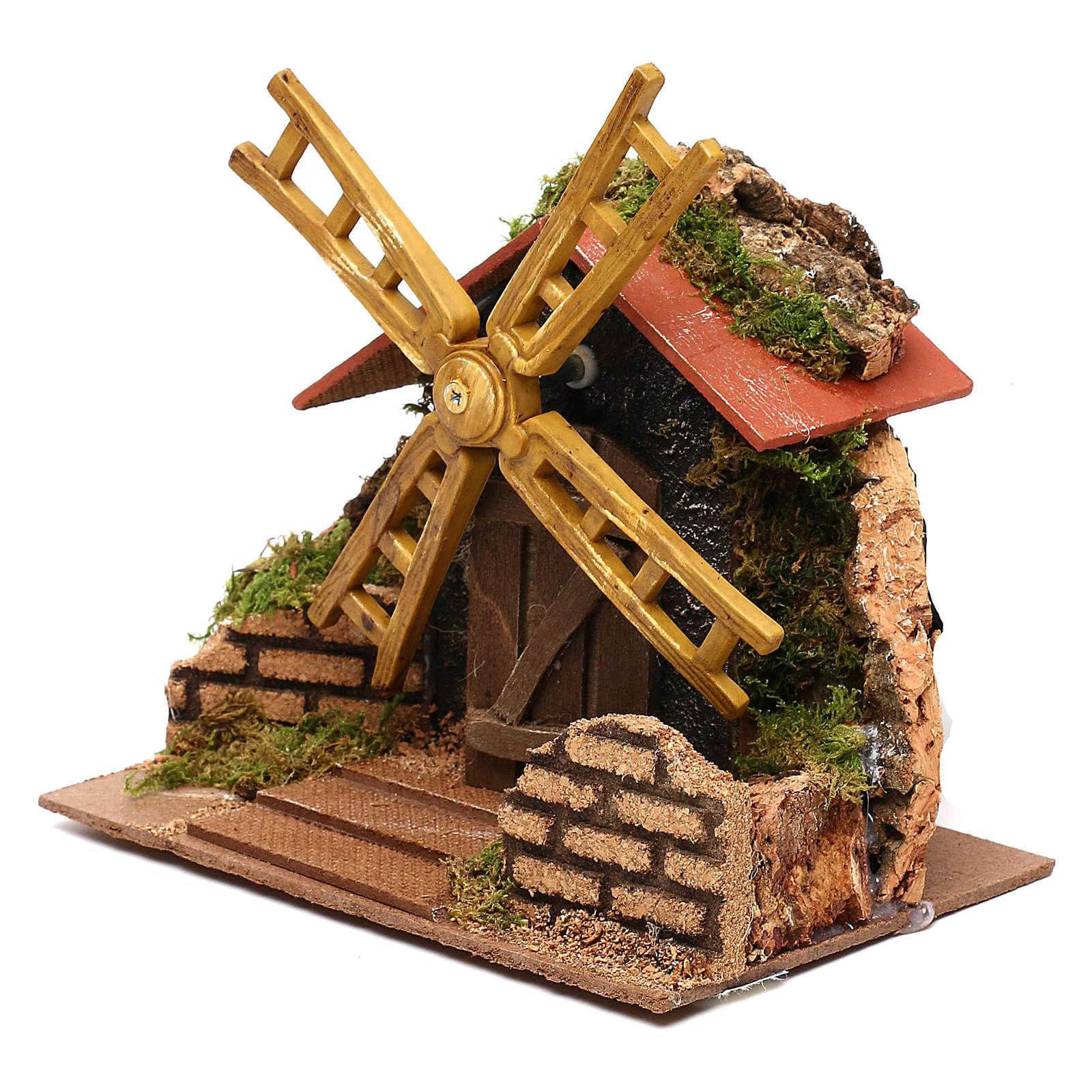 Moulin à vent électrique décor crèche 15x15x10 cm crèche 7 cm 4