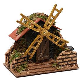 Moulin à vent électrique décor crèche 15x15x10 cm crèche 7 cm s2
