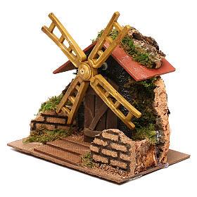 Moulin à vent électrique décor crèche 15x15x10 cm crèche 7 cm s3