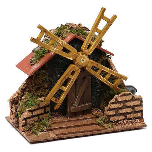 Moulin à vent électrique décor crèche 15x15x10 cm crèche 7 cm 2