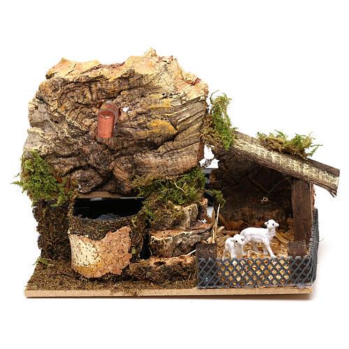 Working fountain cork with sheepfold 10x15x10 cm, for 7 cm nativity 1