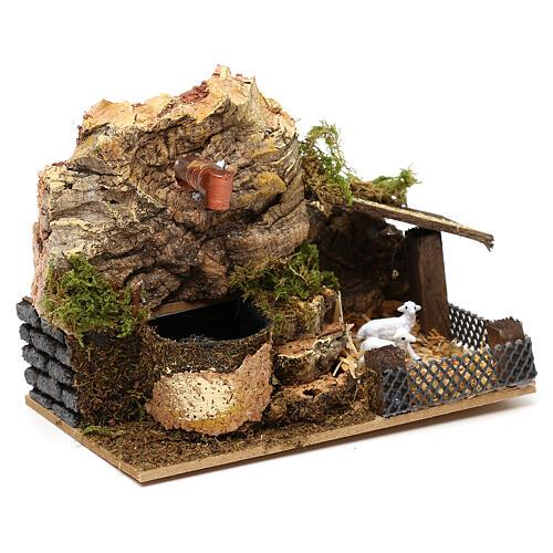 Working fountain cork with sheepfold 10x15x10 cm, for 7 cm nativity 2