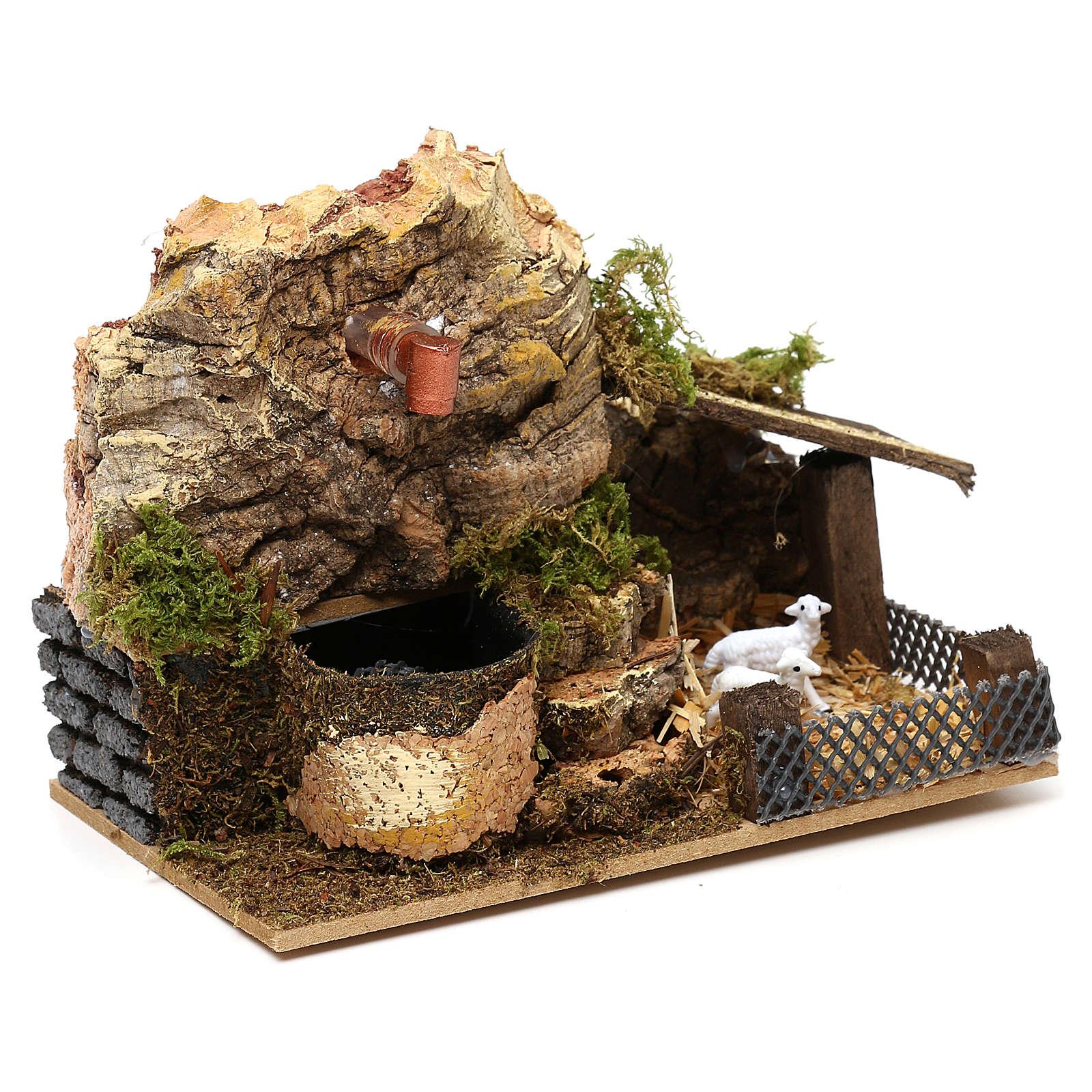 Fontaine électrique liège avec bergerie 10x15x10 cm pour crèche 7 cm 4