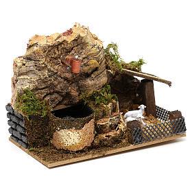 Fontaine électrique liège avec bergerie 10x15x10 cm pour crèche 7 cm s2