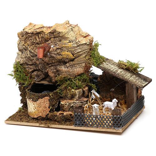 Working fountain cork with sheepfold 10x15x10 cm, for 7 cm nativity 3