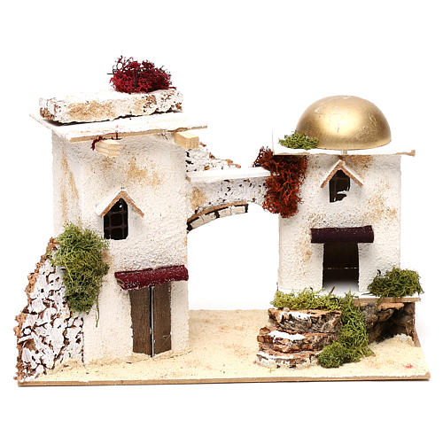 Arabic-style houses with arch 20x30x15 cm for Nativity scenes of 6 cm 1