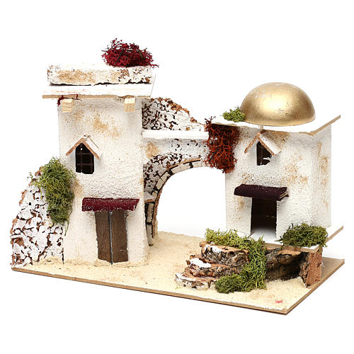 Arabic-style houses with arch 20x30x15 cm for Nativity scenes of 6 cm 3