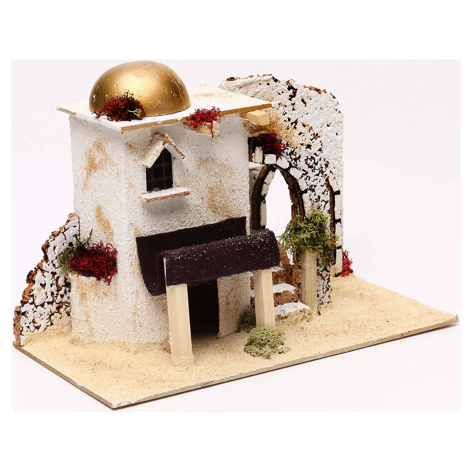 Arabic style house with porch entrance 20x30x15 cm for Nativity scenes of 5 cm 4