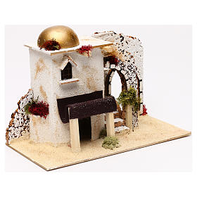 Arabic style house with porch entrance 20x30x15 cm for Nativity scenes of 5 cm s3