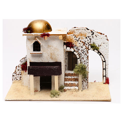 Arabic style house with porch entrance 20x30x15 cm for Nativity scenes of 5 cm 1