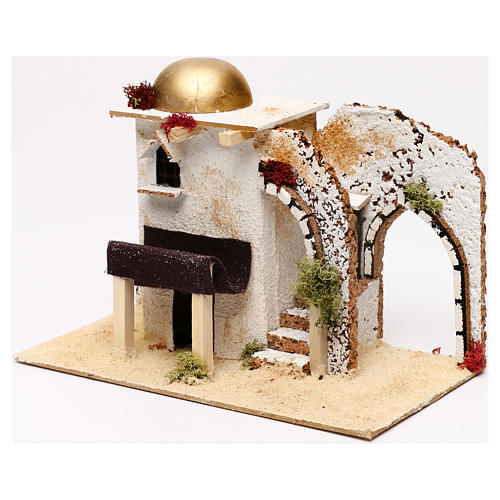 Arabic style house with porch entrance 20x30x15 cm for Nativity scenes of 5 cm 2