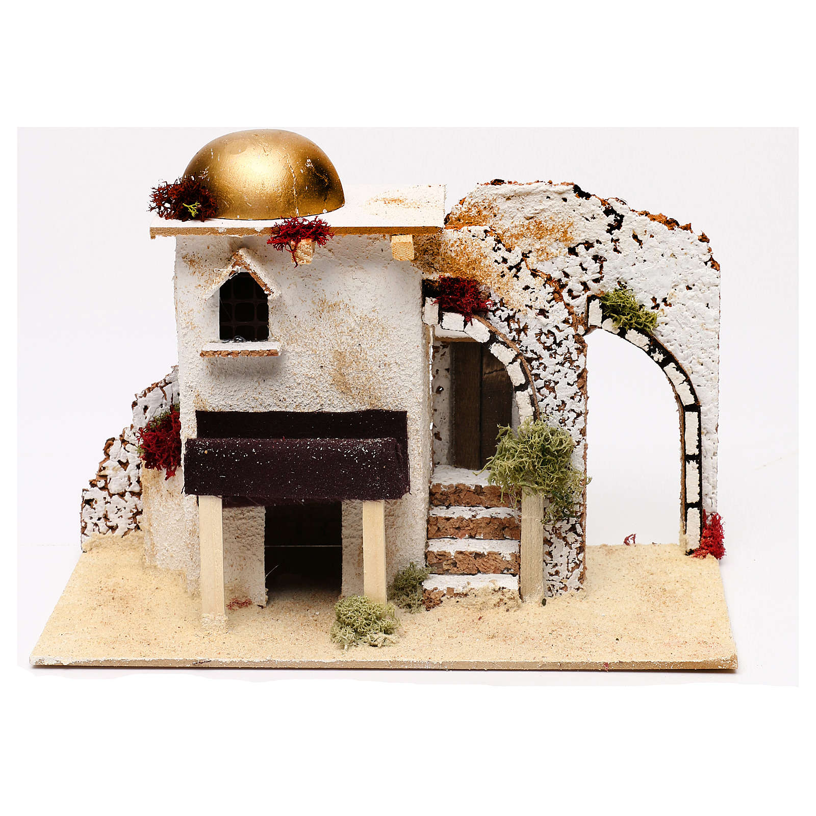 Casetta stile arabo ingresso con portico 20x30x15 cm per presepi 5 cm 4
