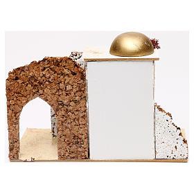 Casetta stile arabo ingresso con portico 20x30x15 cm per presepi 5 cm s4