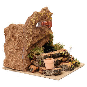 Working fountain with sheep and vase 10x10x15 cm for Nativity scenes of 7 cm s2