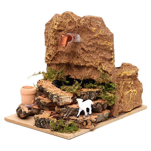 Working fountain with sheep and vase 10x10x15 cm for Nativity scenes of 7 cm 3