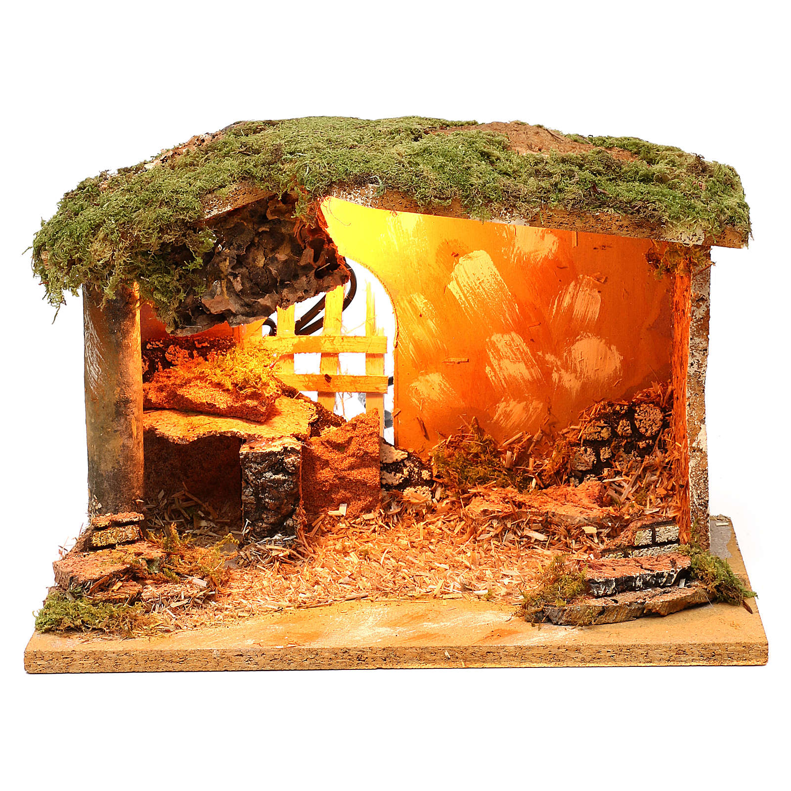 Stable with cork feeder and lighting 20x30x20 cm for Nativity scenes of 12 cm 4