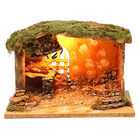 Stable with cork feeder and lighting 20x30x20 cm for Nativity scenes of 12 cm s1