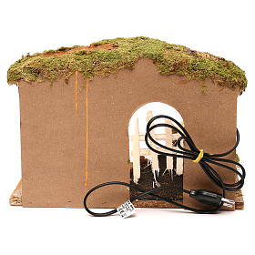 Stable with cork feeder and lighting 20x30x20 cm for Nativity scenes of 12 cm s4