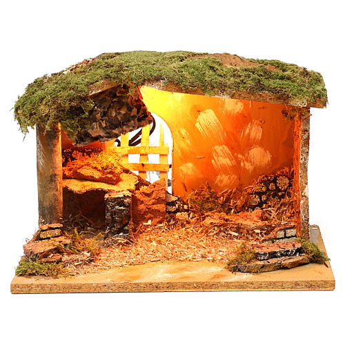 Stable with cork feeder and lighting 20x30x20 cm for Nativity scenes of 12 cm 1