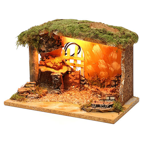 Stable with cork feeder and lighting 20x30x20 cm for Nativity scenes of 12 cm 2