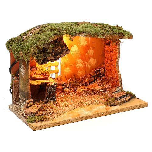 Stalla con mangiatoia in sughero ed illuminazione 20x30x20 cm per presepi 12 cm  3
