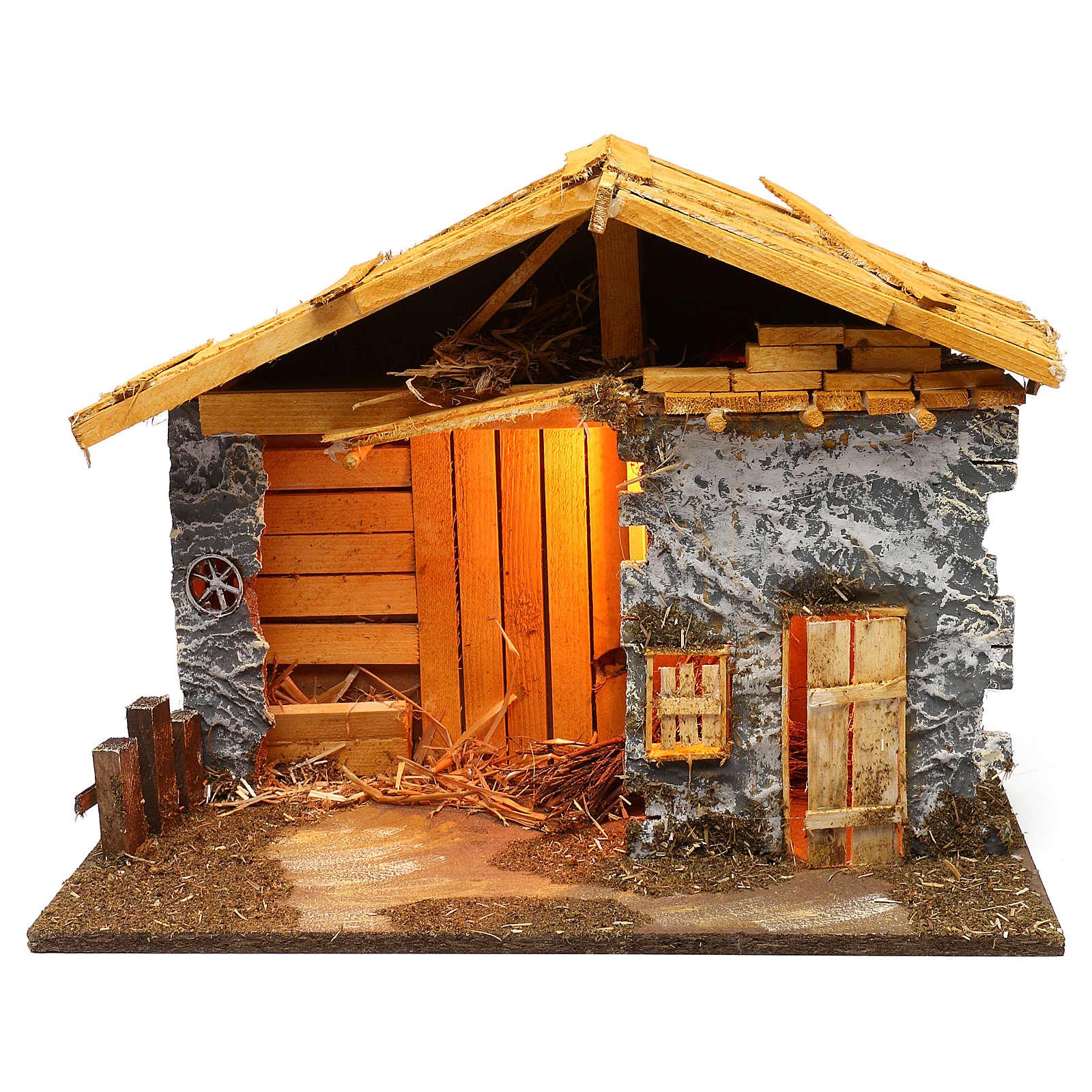 Nordic style hut with masonry barn 40x50x25 cm for Nativity scenes of 12 cm 4