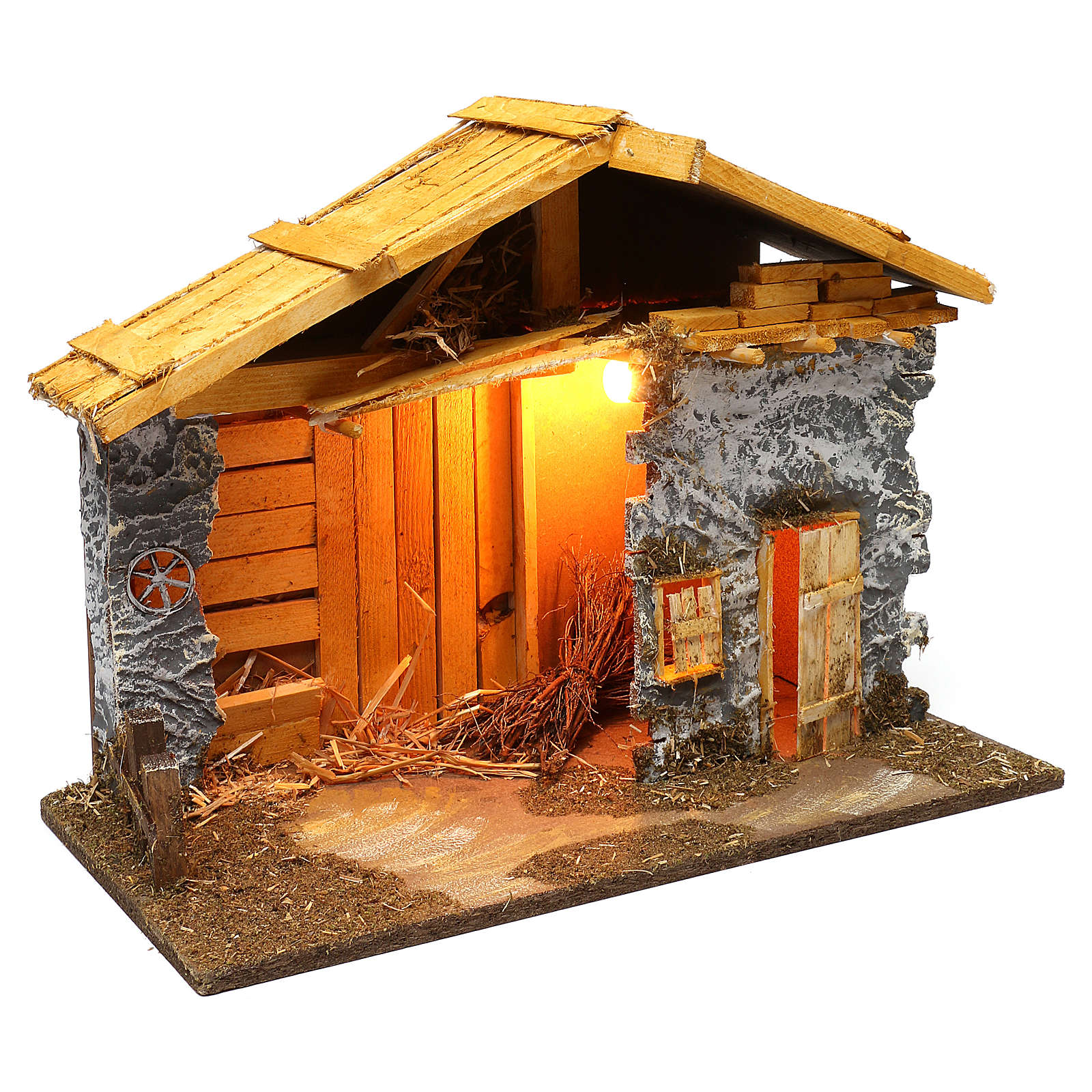Nordic style hut with masonry barn 40x50x25 cm for Nativity scenes of 12 cm 4