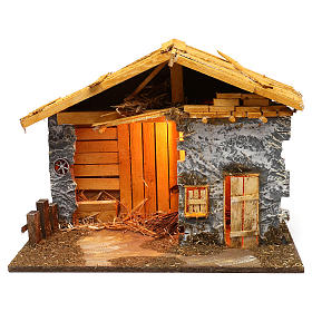 Nordic style hut with masonry barn 40x50x25 cm for Nativity scenes of 12 cm s1