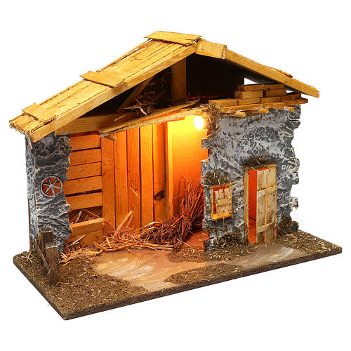 Nordic style hut with masonry barn 40x50x25 cm for Nativity scenes of 12 cm 2