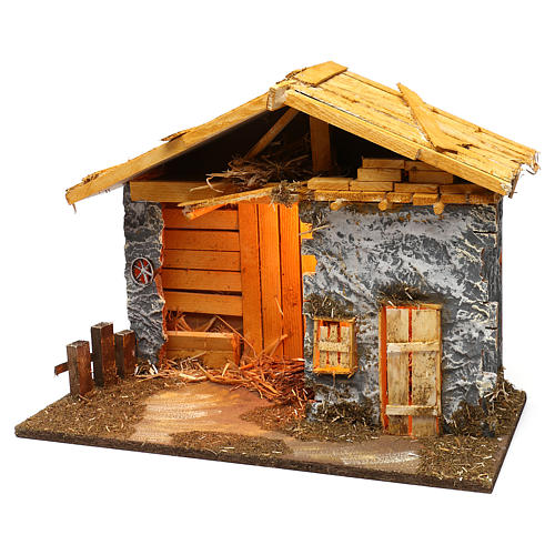Nordic style hut with masonry barn 40x50x25 cm for Nativity scenes of 12 cm 3