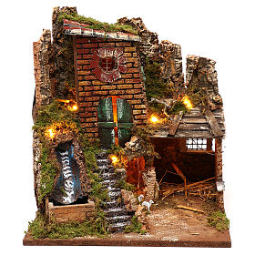 Farmhouse with working waterfall and stable 35x30x30 for Nativity scenes of 7 cm s1