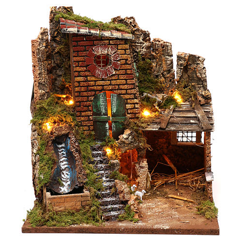 Farmhouse with working waterfall and stable 35x30x30 for Nativity scenes of 7 cm 1