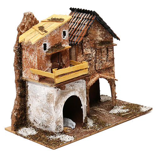 Village with houses and stable 25x30x15 cm for Nativity scenes of 6 cm 2