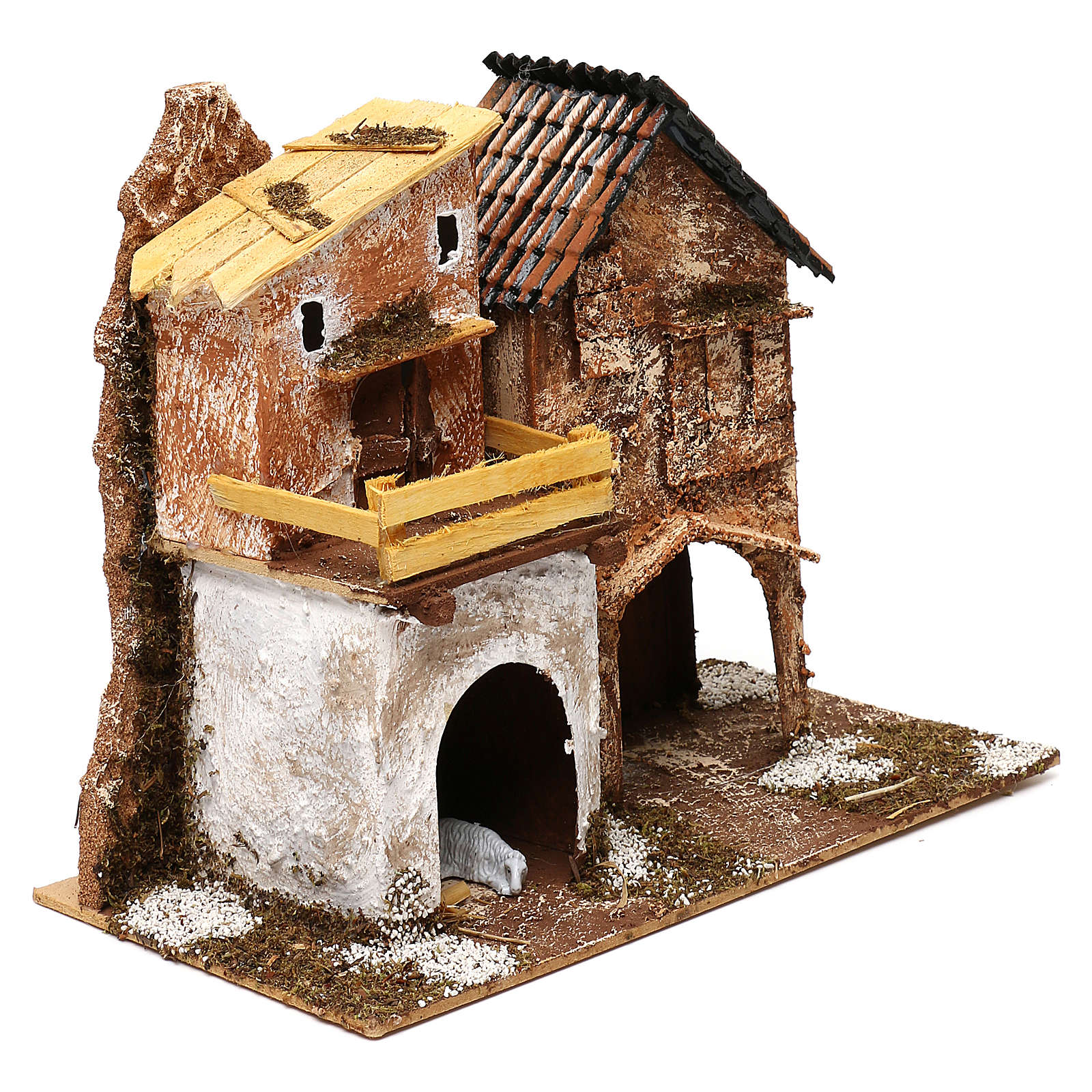 Borgo con casette e stalla 25x30x15 cm per presepi di 6 cm 4