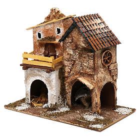Borgo con casette e stalla 25x30x15 cm per presepi di 6 cm s3