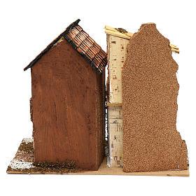 Borgo con casette e stalla 25x30x15 cm per presepi di 6 cm s4