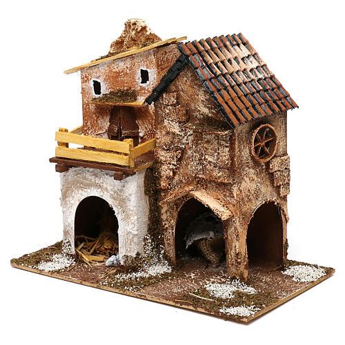 Borgo con casette e stalla 25x30x15 cm per presepi di 6 cm 3
