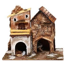 Ambientações para Presépio: lojas, casas, poços: Aldeia com casinhas e estábulo 25x30x15 cm para presépio com figuras de 6 cm de altura média