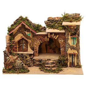 Village with central stable and houses 25x30x20 cm for Nativity scenes of 6 cm s1