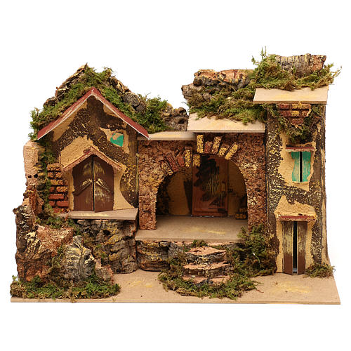 Village with central stable and houses 25x30x20 cm for Nativity scenes of 6 cm 1