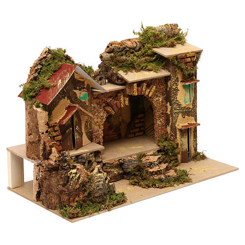 Village with central stable and houses 25x30x20 cm for Nativity scenes of 6 cm 2