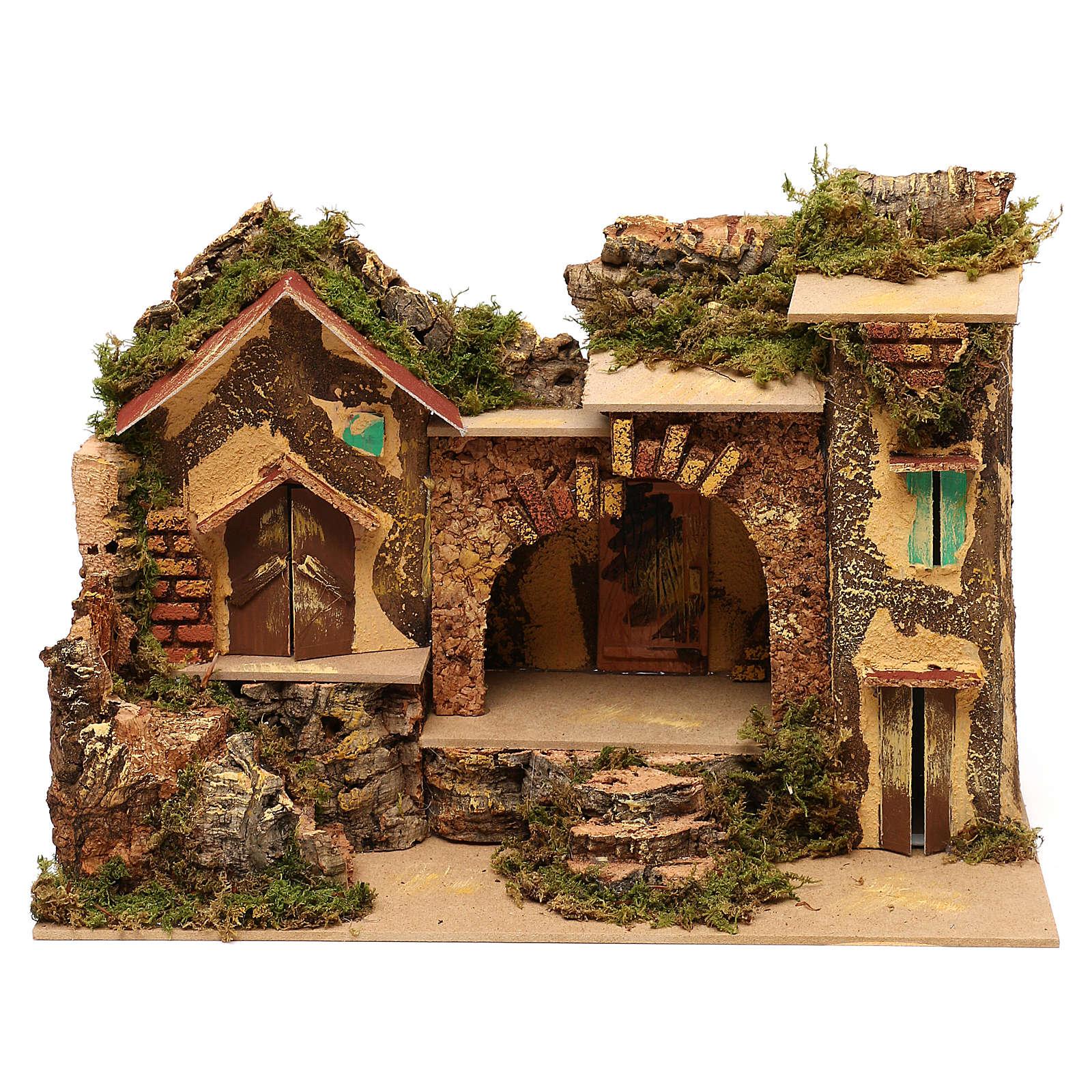 Borgo con stalla centrale e case 25x30x20 cm per presepi di 6 cm  4