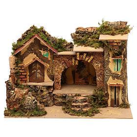 Borgo con stalla centrale e case 25x30x20 cm per presepi di 6 cm  s1
