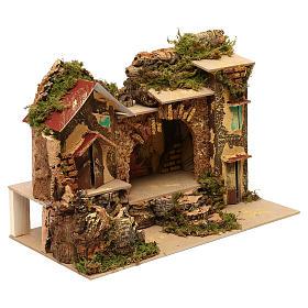 Borgo con stalla centrale e case 25x30x20 cm per presepi di 6 cm  s2