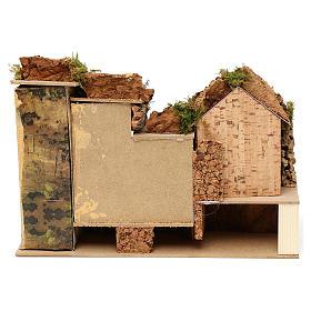 Borgo con stalla centrale e case 25x30x20 cm per presepi di 6 cm  s4
