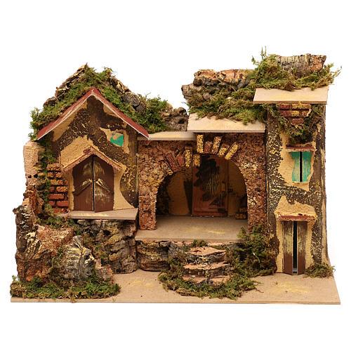 Borgo con stalla centrale e case 25x30x20 cm per presepi di 6 cm  1